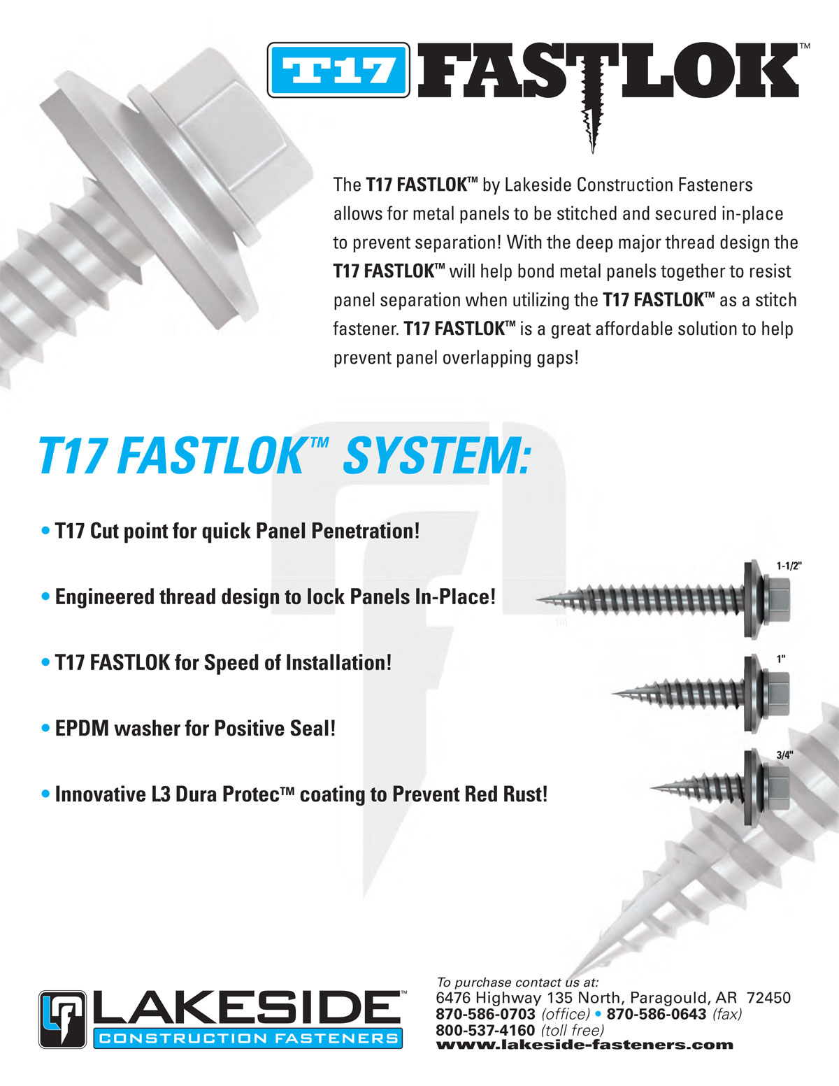Lakeside T17 FastLok Info Sheet